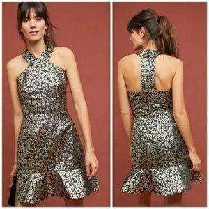 Anthropologie Hutch Halter Leopard Metallic Dress